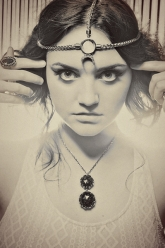 Reunion - Freyja Necklace in Starry Night, Moon Priestess Head Piece in Quartz & Vanth Ring in Amethyst