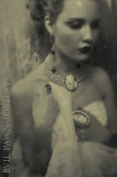 Rain Is Like A Baptism - Pearl Nicodemus Ring, Cameo Skull Ring, Gilda Earrings & Nicodemus Pearl Collar Necklace