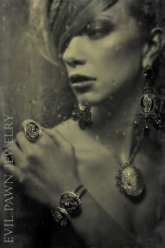 Rain Is Like A Baptism - Nicodemus Pendant, Cameo Skull Ring, Double Cameo Skull Bracelet & Grace Earrings
