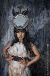 Gaussian Winter - Isis Throne Head Dress, Stack Cuff, Mirror-Mirror Ring and Moonstone Ring