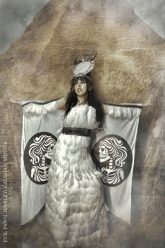 Gaussian Winter - Isis Throne Head Dress, Wings Of Isis, Stack Cuff, Mirror-Mirror Ring and Moonstone Ring
