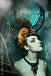 Mythical Creatures - Micro Pavé Buffalo Horn Head Piece, Buffalo Horn & Bone Necklace