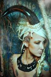 Mythical Creatures - Buffalo Horn Necklace & Micro Pavé Buffalo Horn Head Piece