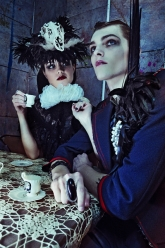 Post-Apocalyptic Tea Party - Lydia Hat, Dark Queen Bib, Nicodemus Ring, Jack Skull Pearl Lapel Brooch, Marty Braided Bracelet and Pond Ring