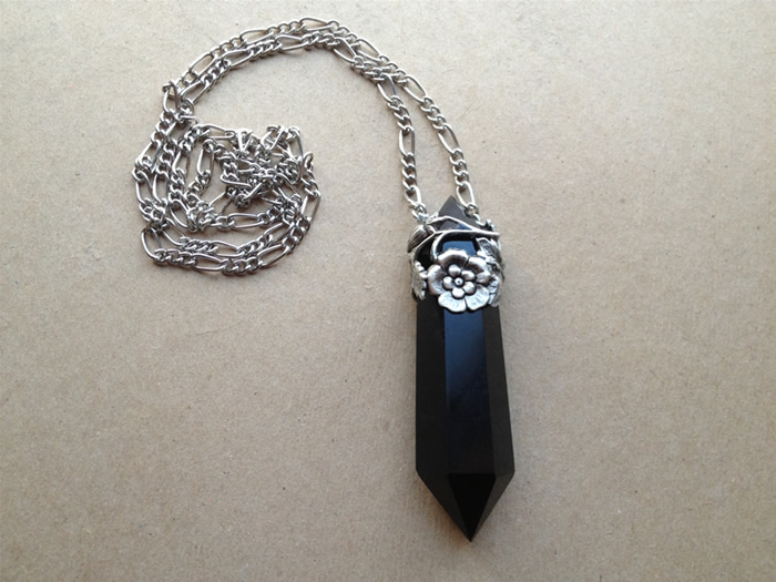 Floral Topped Black Obsidian Necklace Evil Pawn Jewelry