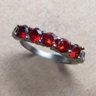 Crystal Skull Mini Stack Ring in Garnet