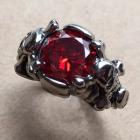 Crystal Skull Ring in Garnet