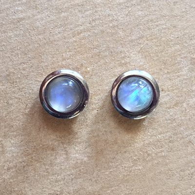 Rainbow Moonstone Bezel Set Stud Earrings
