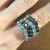 Curved Cat Stack Ring in Labradorite & Obsidian