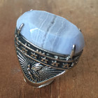 Argon Air Ring in Blue Lace Agate
